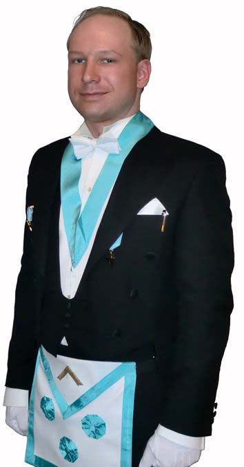 Breivik in his Masonic religious cult outfit