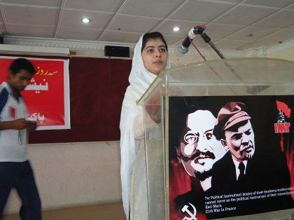 Malala Yousufzai speaking at the Marxist school in SWAT