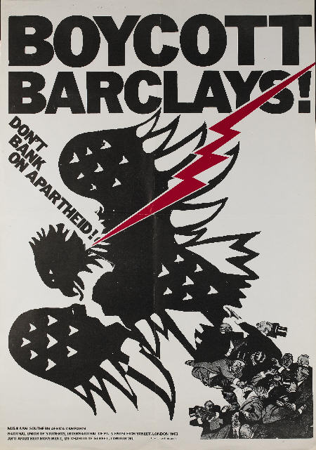 Boycott Barclays poster from the 70s - Don't Bank on Apartheid