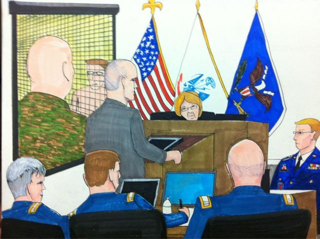 Courtroom illustration by Clark Stoeckley