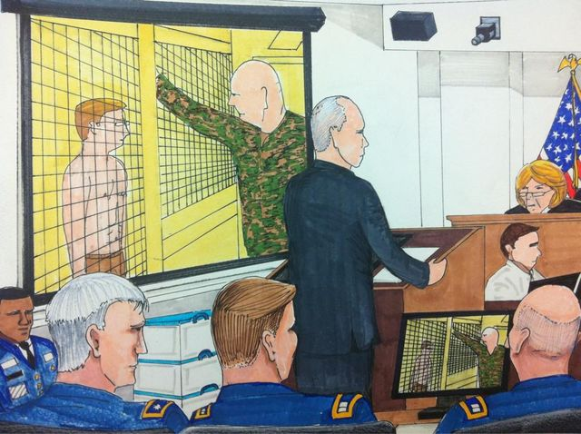 Defence shows another video from inside brig - Illustration by Clark Stoeckley