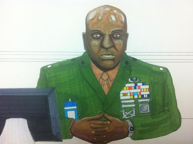 Courtroom sketch by Clark Stoeckley - CWO James Averhart