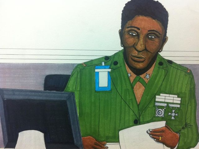 Courtroom sketch by Clark Stoeckley - CWO Denise Barnes