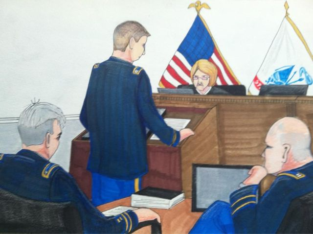 "Sketch by Clark Stoeckley: ""The prosecution's case is falling like dominoes"""