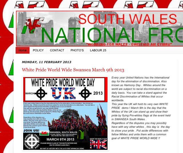 9 March demo publicity, on the SWNF website
