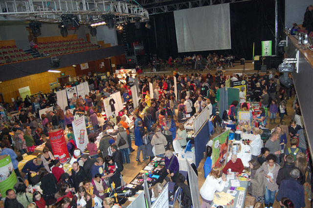 Crowded aisles at the West Midlands Vegan Festival 2012, in Wolverhampton