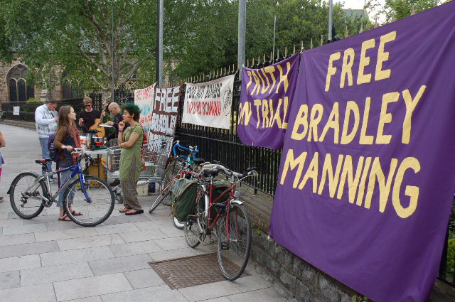 new banners at food not bombs, cardiff