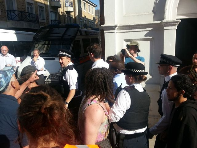 "Two councillors get escorted away by police to chants of ""Scum""!"