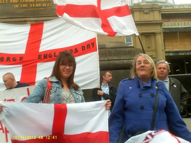 Natasha Malley (left) at Northern Patriotic Front/NF demonstration