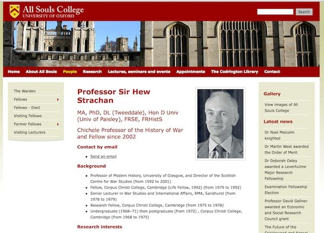 A war criminal: Professor Sir Hew Strachan