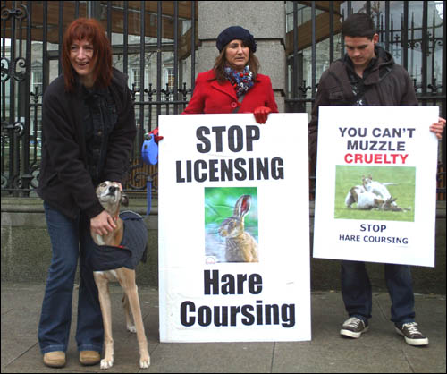 protest against hare coursing at Irish parliament