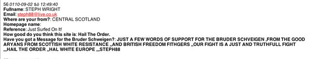 """steph88@live.co.uk"" = ""Steph Wright"" (NB ""British Freedom Fithgers"" [sic])"
