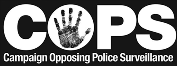 "Campaign Opposing Police Surveillance: ""COPS"" in capital letters"