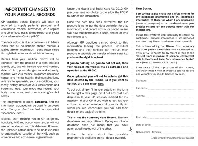 NHS Care.data OPT-OUT form