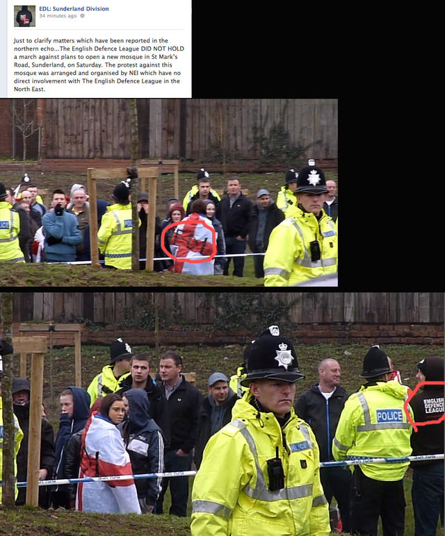 Sunderland EDL claiming there was no EDL involved with the demo