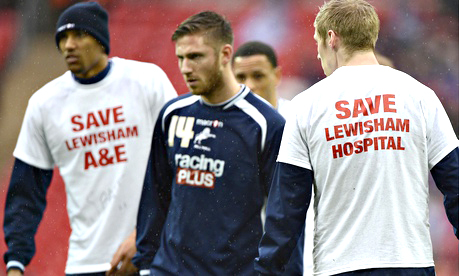 Millwall players opposing health service cuts