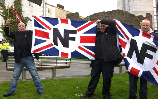 Redwatch organiser Kevin Watmough (right) with NF flag