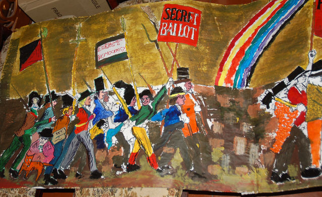 Part of the Chartist Mural re-created by local kids on Monday