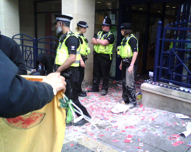 debris and banner at the jobcentre
