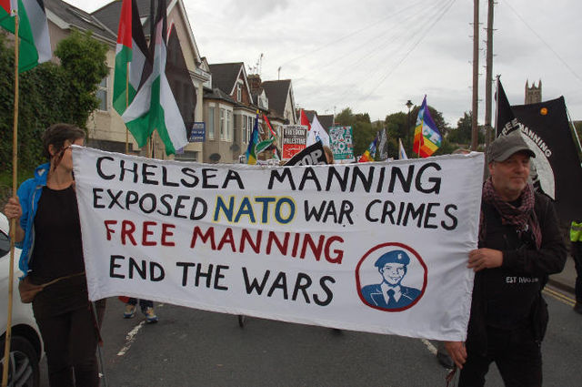 Manning banner of Saturday's march