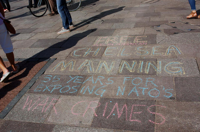 Chalking on pavement in Cardiff Sunday
