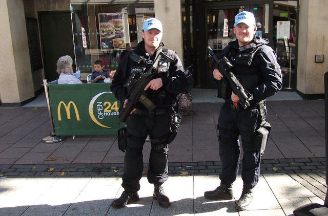 Armed police in Cardiff Sunday