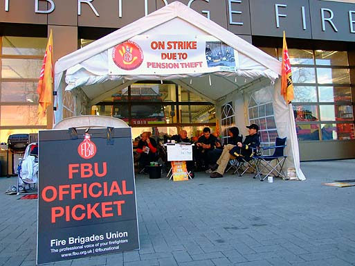 The FBU Picket outside Parkside Fire Station.