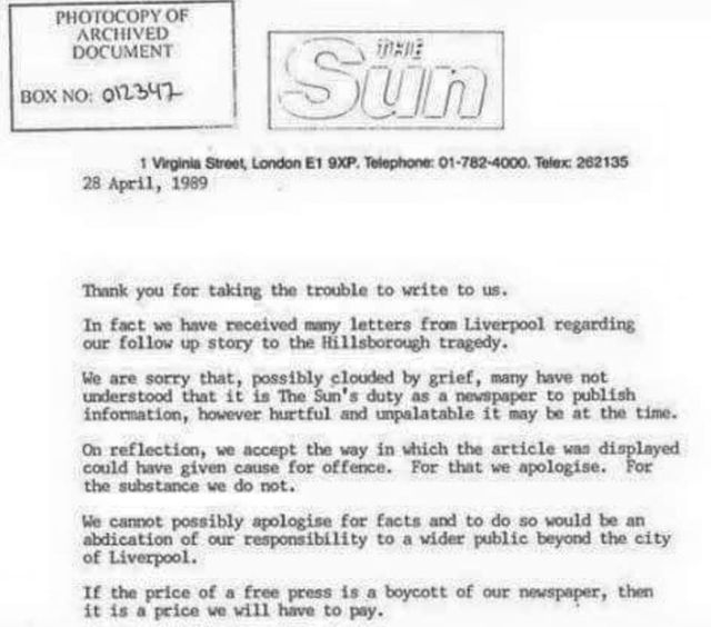 Letter from the Sun received by Liverpool Manager Kenny Daglish