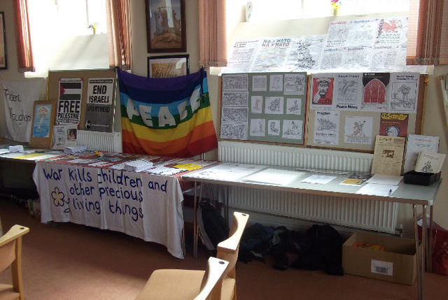 Campaign stalls and display of Dai Owen's political art