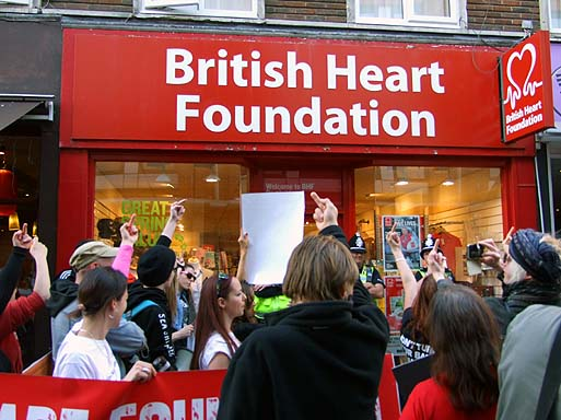 Showing what they think of BHF's support for vivisection.