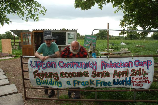 At the gate of Upton Community Protection Camp