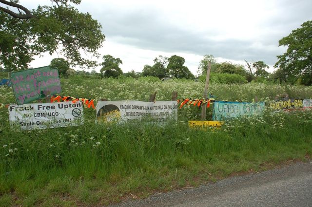 Banners along the road; organic field behind