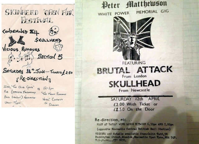Neo-Nazi gig flyers with redirection points in Newcastle