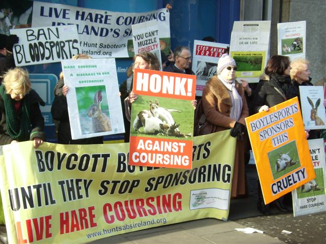 Protest against hare coursing in Ireland