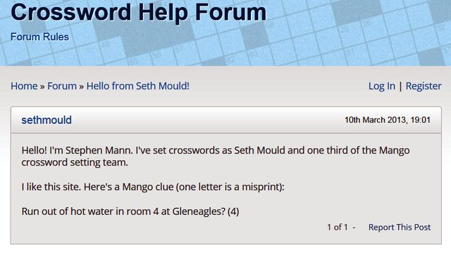 "Steve Mann (Mango) is ""Seth Mould"""