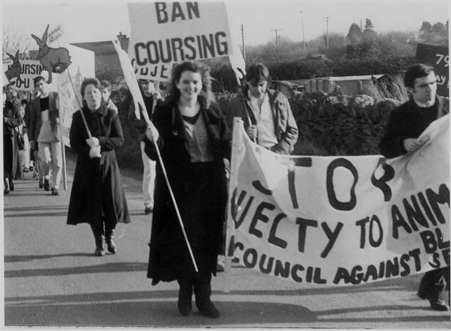 A 1987 demo against hare coursing in Ireland (Waterford).A long campaign...