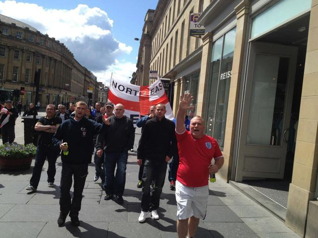 NE EDL doing Hitler Salutes in Newcastle in 2013