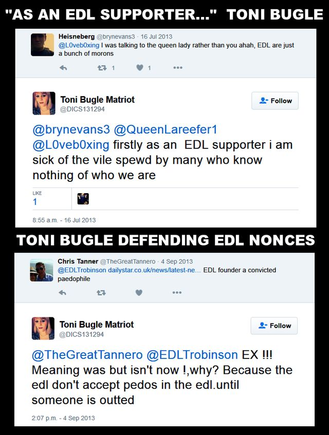 Toni Bugle Pretending The EDL Are Not Nonces