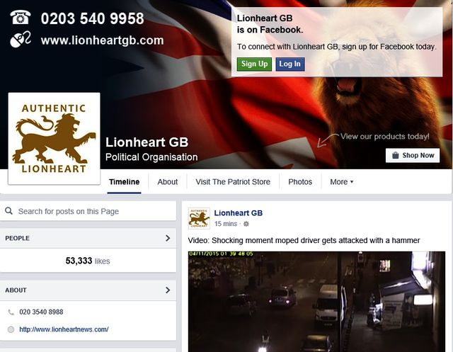 "Alderson Likes BNP-Offshoot ""Lionheart GB"" neo-Nazi Organisation Page"