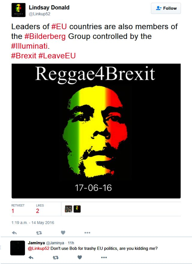 Lindsay Linked Bob Marley to #Brexit (unforgiveable)
