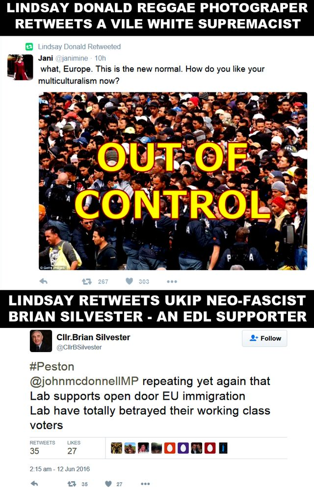 Lindsay Tweets White Supremacist #Brexit Post