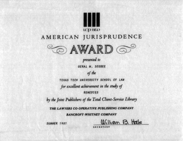 Geral Sosbee, American Jurisprudence award